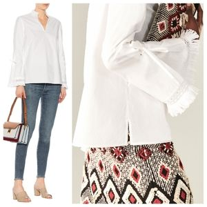 TORY BURCH Sophie White Fringe Top Blouse